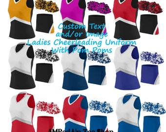 Custom Ladies/Women Cheerleader Uniform with Pom Pom, Cheerleader Outfit, Cheerleading Uniform, Cheerleading Outfit, Cheerleading Shirt