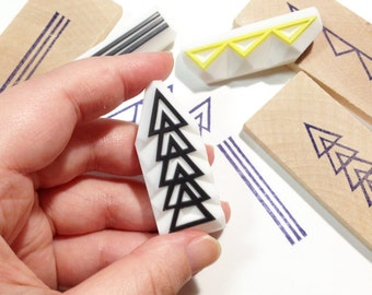 geometric pattern rubber stamps | arrow line triangle | decoration stamp | diy birthday card making | hand carved by talktothesun | set of 3