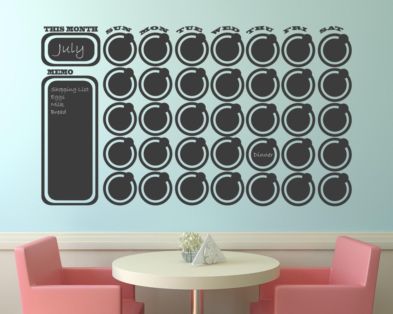 Chalkboard Wall Decal Calendar Wall Decal Memo with free chalk