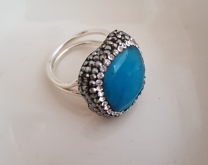 Unusual raw blue Jade ring Sterling Silver clear and grey Pave Swarovski crystals,- Size N - adjustable