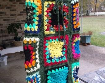 Hand Crochet Granny Square Mini Skirt, Crochet Short Skirt, Hippie, Boho Chic,Crochet Multi Colors Mini Skirt, Festival Skirt, Festival Wear