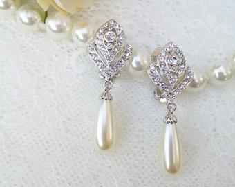 Pearl wedding clip on earrings, Art Deco bride clip on, Bride chandalier Earrings, pearl wedding jewelry, clip on earrings, bridal jewelry