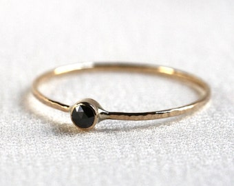 2.5mm Rose Cut Black Diamond Stack Ring - Solid 14k Gold - Genuine Black Diamond - Rose or White or Yellow Gold - Tiny Delicate Dainty