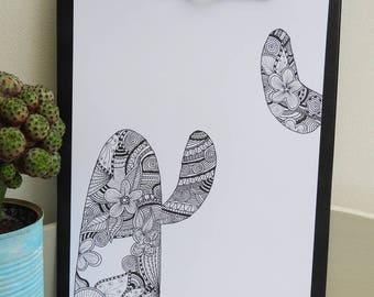 Affiche illustration zentangle- cactus noir et blanc - affiche scandinave- déco scandinave