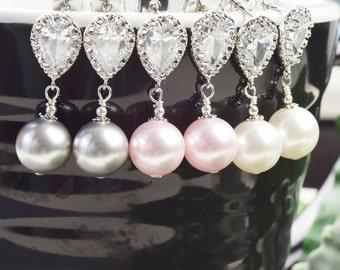 Perle Brautjungfer Ohrringe SET von 8 Tropfen Ohrringe Silber Brautjungfer Schmuck - Brautjungfer Geschenke Schmuck - Perle Braut