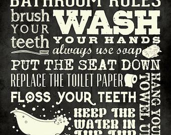 Bathroom Rules 12x12 PRINT