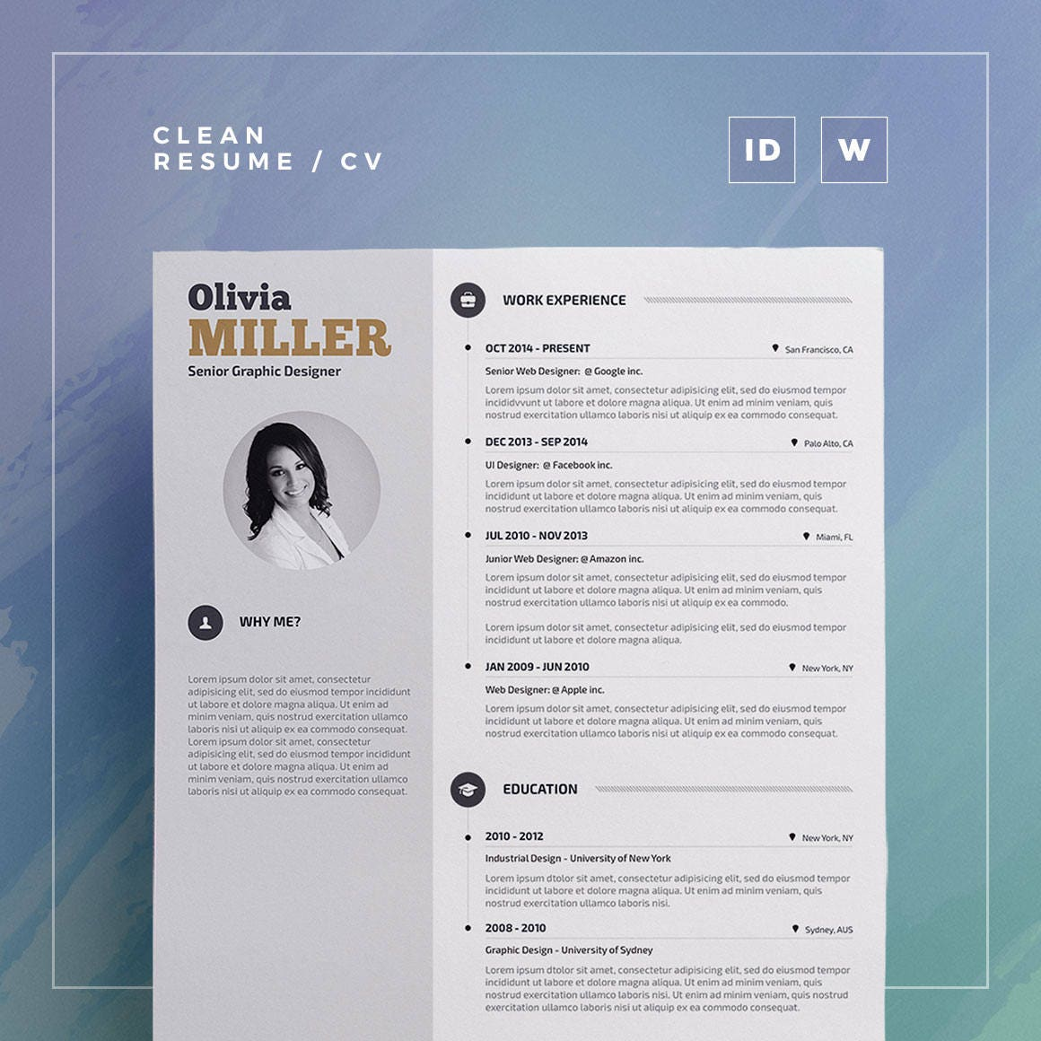 Clean Resume/Cv Olivia Word and Indesign