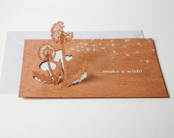 """3 pop up cards wood with envelope - """"make a wish"""" cards"""