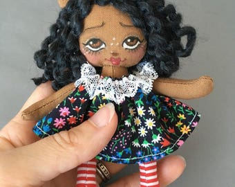 Tiny Deer Fawn Rag Doll for Your or Your Dolls, Forest animal art doll for Blythe and BJD, miniature cloth doll African American