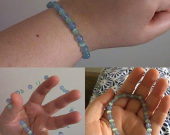 Blue Jade and Light Teal Cat Eyes Bracelet