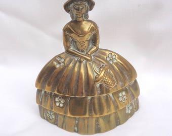 Vintage brass Crinoline Lady - bell