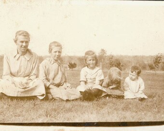vintage photo Girls in GRass HOld Baby Chicks