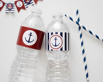 Nautical Red and Blue Anchor Water Bottle Wrappers, Nautical Anchor Water Bottle Wrappers, Red and Blue Nautical Anchor Party Printable