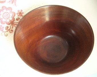Turned Wood Salad Bowl, Solid Mahogany from Guatemala, Serving Bowl, Popcorn Bowl