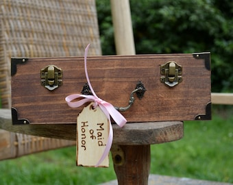 Small Vintage Style Keepsake Box/Suitcase with Luggage Tag, Great for bridal parties
