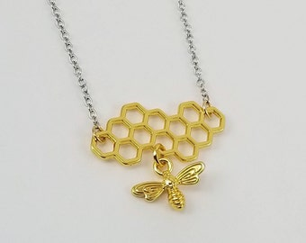 Bee Necklace, Honeycomb Necklace, Bee and Honeycomb Necklace, Honey Bee Necklace, Bee Jewelry, Minimalist Bee Jewelry