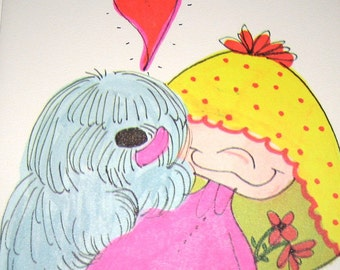Cute Vintage Greeting Card Friendship Dog Giving Girl Kiss Lick Heart Sheepdog Neon Bright Girly Collage Art