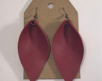 Leather Leaf Earrings: Matte Red