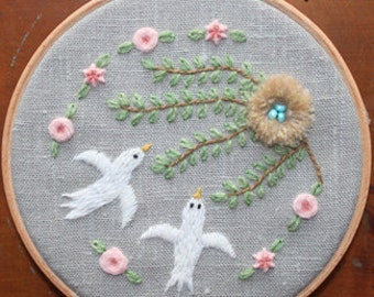 Love Birds Crewel Embroidery Pattern and Kit