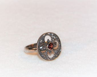 Size 7 1/4 Sterling Silver Ring With Garnet, Unique 925 Ring With Red Stone, Healing Gemstones,