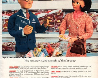 Vintage 1966 Family Circle Magazine U.S. Food Consumption Ad Food Facts Supermarket Kitsch 1960s Dolls Meat Grocery Retro Room Decor Crafts