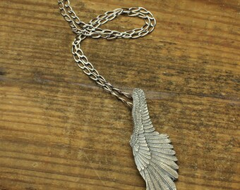 Angel Wing Necklace Wing Pendant in Solid Sterling with Silver Custom Link Chain