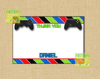 Video games Printable Thank You Card, video games Thank You DIY, gaming Printable Note Card DIY, video game controllers thank you note card