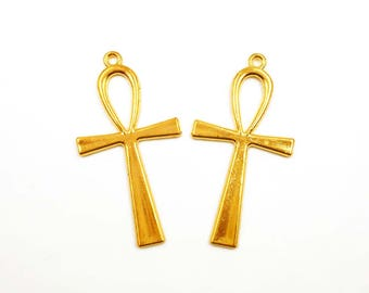 2 Gold Plated Ankh Pendant/Charms - 30-28-1