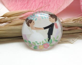 2 cabochons 20 mm glass wedding 2-20 mm