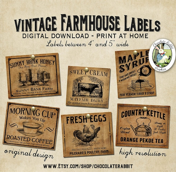 Vintage Country Farmhouse Primitive Prim Labels Digital Download