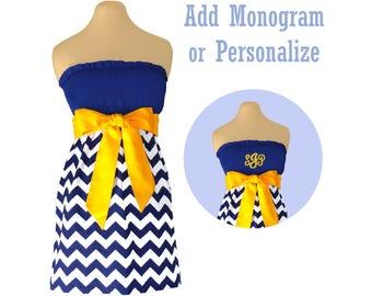 Navy or Blue + Yellow Chevron Dress