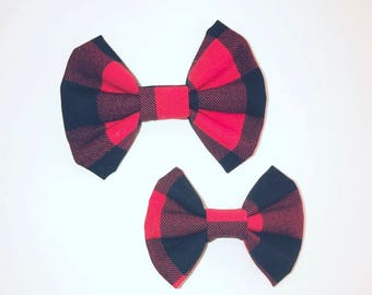 Red Lumberjack fabric Kenzie bows on clips or headbands