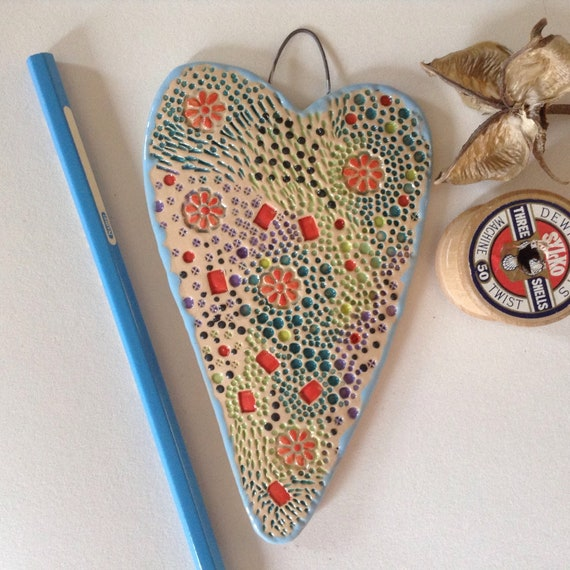 Handmade Ceramic Hanging Heart, pattern, colour, flowers