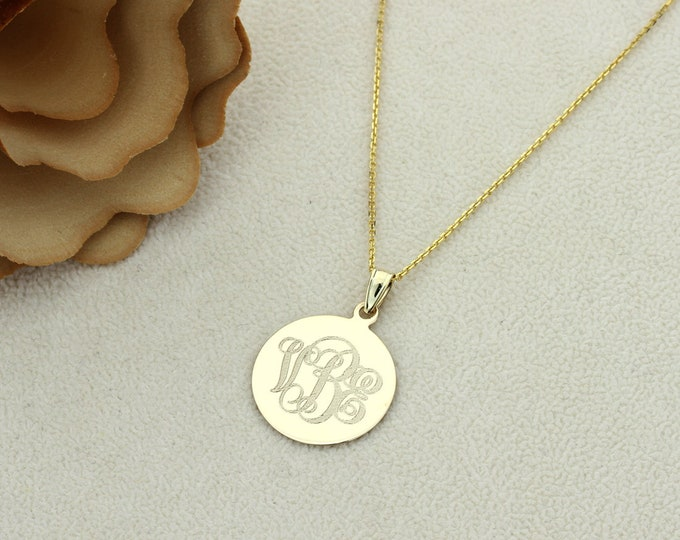 Featured listing image: 14K Solid Yellow/ White Gold Personalized Three Letter Initial Monogram 18.5mm Round Disk Chain Necklace Monogram Coin Charm