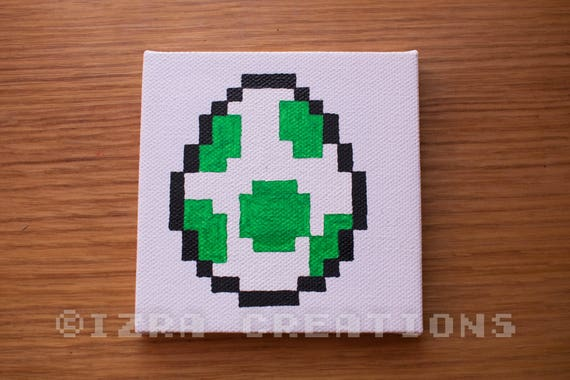 tableau peinture pixel art oeuf de yoshi. Black Bedroom Furniture Sets. Home Design Ideas