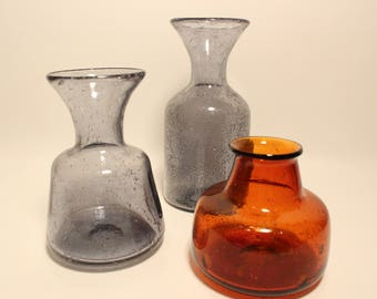Collection 3 vases Kosta Boda Erik Höglund Sweden
