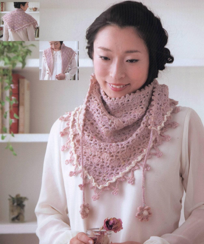 Crochet chal, patrones de Crochet, libros japoneses, bufanda de ...