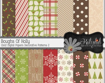 Christmas Digital Paper Boughs Of Holly Digital 12x12 Patterns 2 Holiday Seasonal Papers and Backgrounds for INSTANT DOWNLOAD