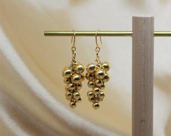 GOLD APPOLO Earring, Gold earring, Gold Grape earring, Dangle Earring, Handmade Earring, Drop Earring