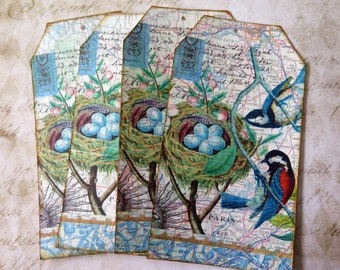 4 Old Atlas and Decoupage napkin  Tags Journal Cards  Journal Embellishments Scrap Booking  Travelers Note Book Card Making