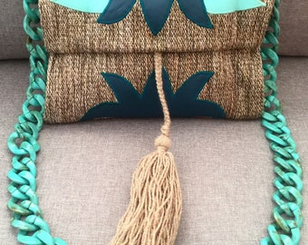 Aqua atlantis kilim and leather bag
