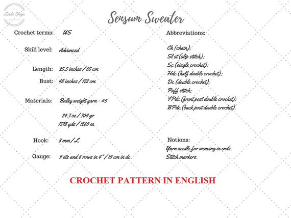 Crochet Sweater Pattern PDF Sensum Sweater cabled sweater