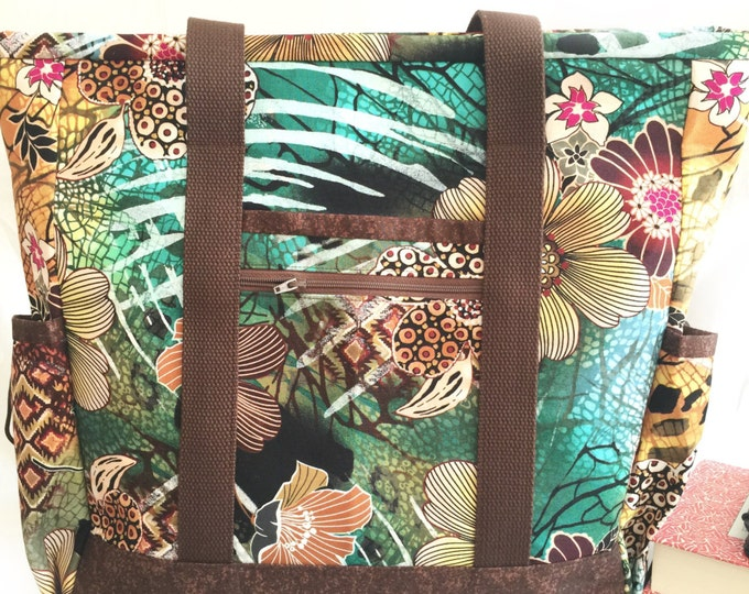 Hawaiian Floral Teacher Tote Bag with Pockets, Zippered Large Nurse Tote, Knitting Bag, Travel Tote, Professional Tote, Diaper Bag