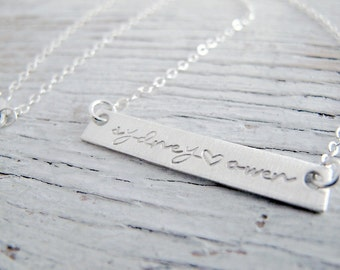 Personalized Silver Bar Name Necklace, Mother's Necklace, 2 kids names, 1 kid, Rectangle, Natural, Hand Stamped