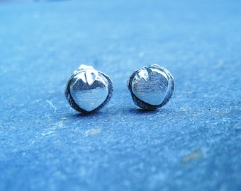 Small rustic heart sterling silver stud earrings - gift under 30 dollars - oxidized silver post earrings organic boho light