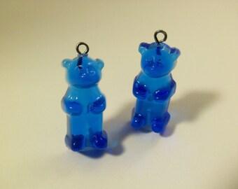 4 Royal Blue Gummi Bear Charms Pd90