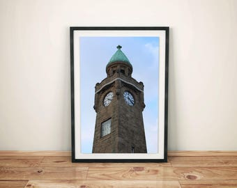 Tower at the piers in Hamburg with clock, Germany-color-Hamburg photography-Digital download