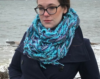 Fuzzy Teal Highlight Arm Knit Infinity Scarf