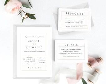 Modern Wedding Invitation Suite, Wedding Invitation Printable, Invitation Set, Wedding Invitation Rustic, PDF Letter or A4 (Item code: P107)