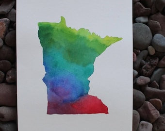 Minnesota Original Watercolor Painting -- 9x12 -- State Painting -- Home Decor -- Minnesota Art -- Unique Christmas Gift